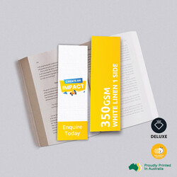 350gsm White Linen One Sided Bookmarks